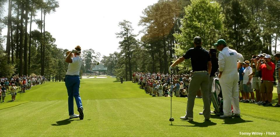Teeing off at the Masters at Augusta National